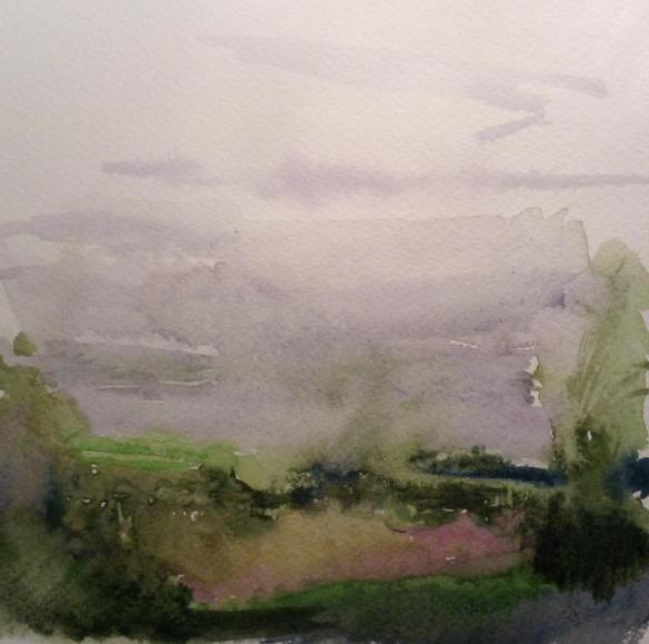 Pond at Summertrees (watercolour 2015) 20x20cm framed £75