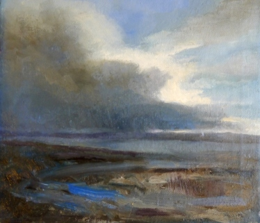 High Tide Parkgate 2014 oil on canvas 22x19cm £140