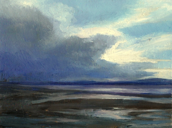 High Tide Parkgate 2014a oil on card 14x10cm
