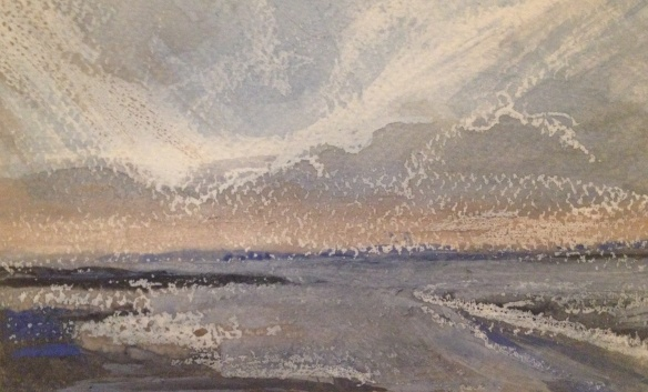 Liverpool Bay, Looking North (watercolour & wax)