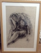"""""""Thinking Woman"""" (black chalk on paper 2013) A2 framed £150"""