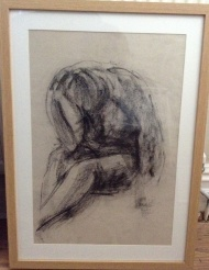"""Thinking Woman"" (black chalk on paper 2013) A2 framed £150"