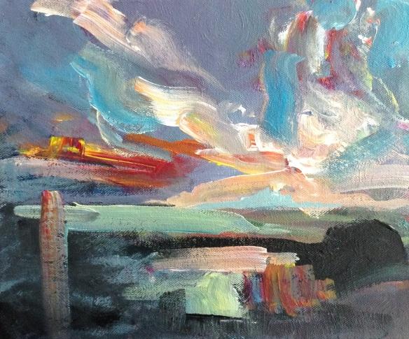 Island Sundown 2015 (acrylic on canvas 30x22cm, unframed) £60
