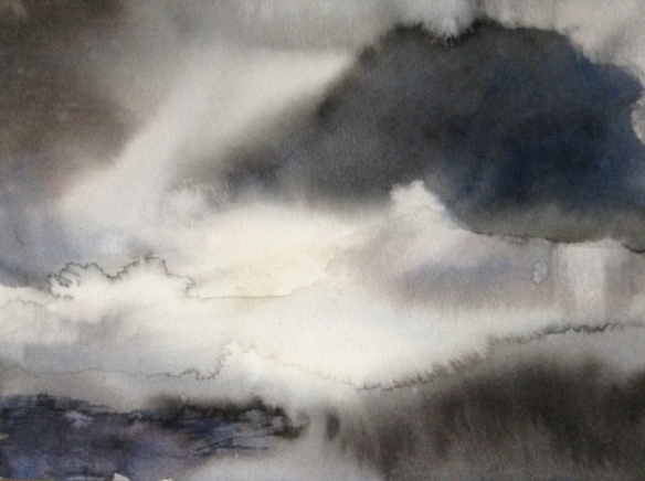 Dark Cloud (2016) watercolour 14x20cm framed £130