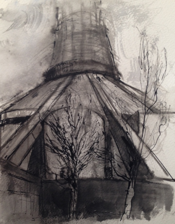 Cathedral of Christ the King (pen & wash on A4 paper) 2015 framed £75