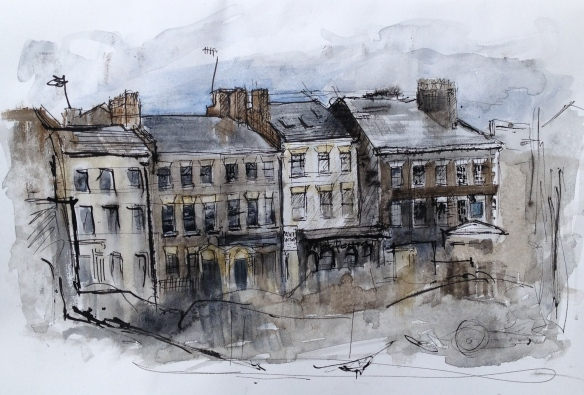 SOLD Duke St from Parr St (pen & watercolour on A4 paper), framed 2015 £120
