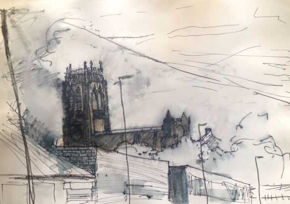 Liverpool Anglican Cathedral from Greenland St (pen & wash on A4 paper) 2015 framed £85