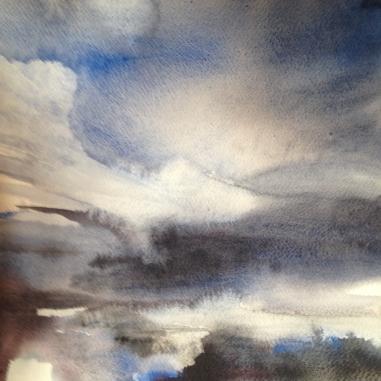 Sea Sky (2016) watercolour 30x30cm framed £225