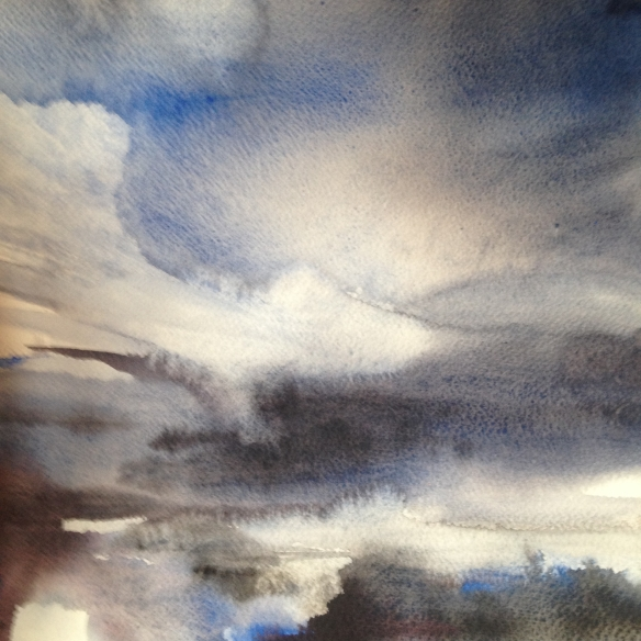 Sea Sky (2016) watercolour 30x30cm framed £225