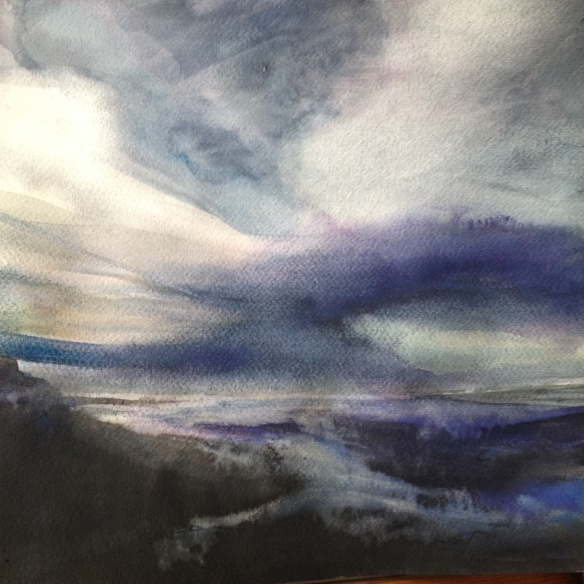 Storm Passing (2016) watercolour 30x30cm framed £195