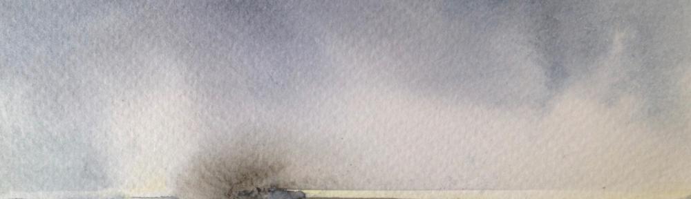 Sandbank (2016) watercolour 15x11cm framed SOLD