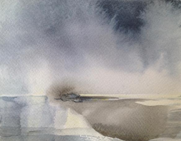 Sandbank (2016) watercolour 15x11cm unframed £30