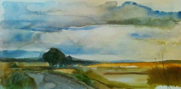 Near Appleby (watercolour 35x18cm) framed