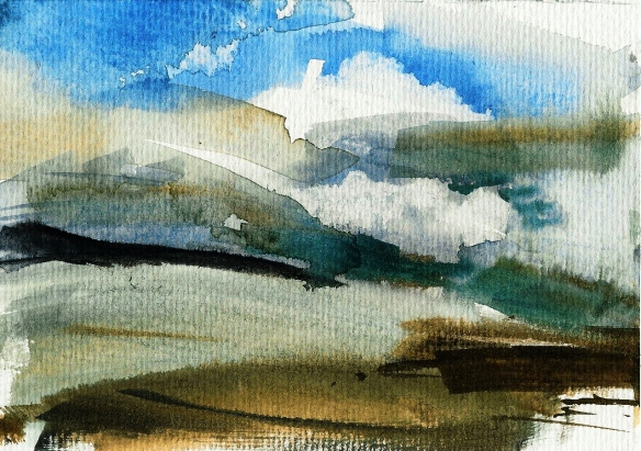 Thurstaston Shore 2011 watercolour framed