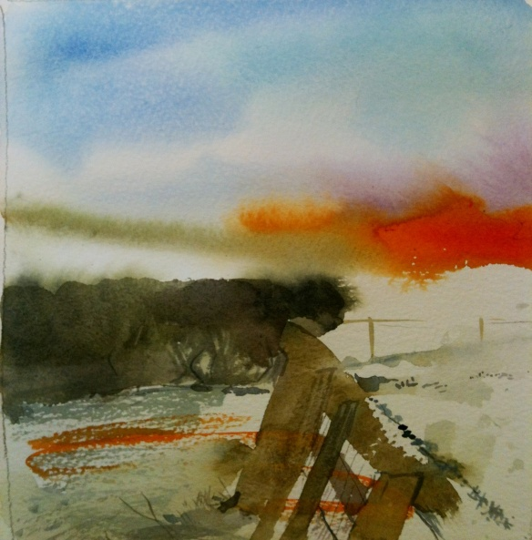 Storeton Fields 2013 (watercolour) 20x20cm unframed £25