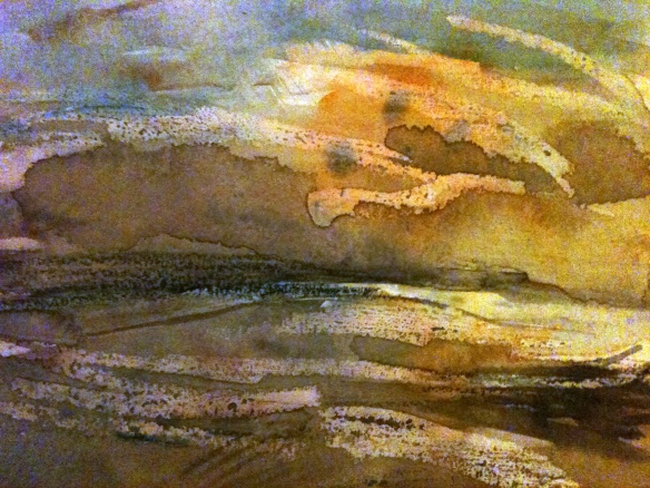 Hilbre Evening (watercolour & wax 2011) framed £45
