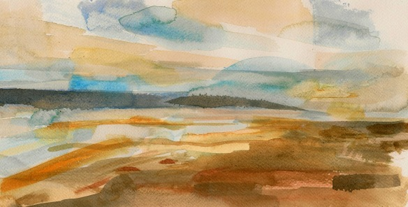 Thurstaston Gold & Blue (watercolour 2013) SOLD