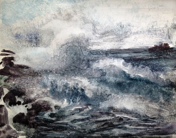 Wind, Rock, Wave 2013 (watercolour on card A4) SOLD