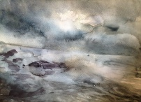 Wild Sea in June 2013 (watercolour on paper A4) SOLD