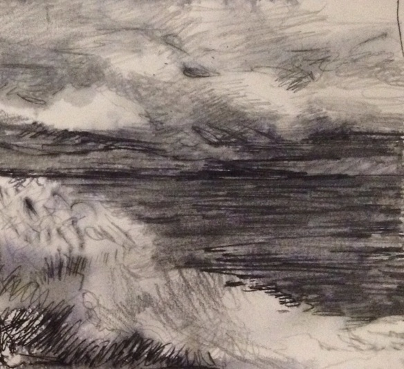 Cloud & Wave (pencil 2014) A5 unframed £40