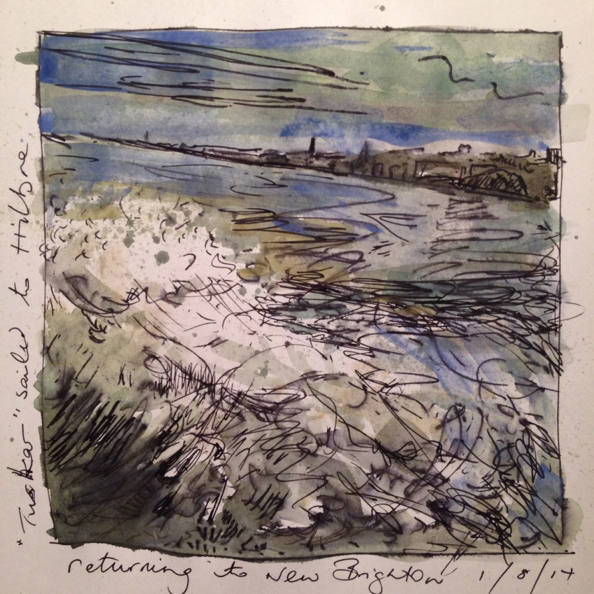 Return to New Brighton pen & watercolour journal page unframed £20