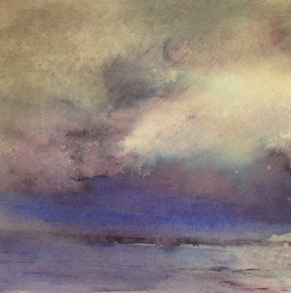 Storm (watercolour on paper 15x15cm approx) 2014 unframed £30