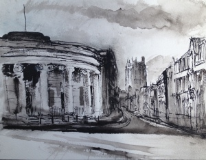 View Along Hope St (pen & wash on A4 paper) 2015