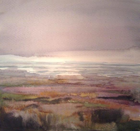 Burton Marsh (watercolour 2015) 20x20cm framed £110