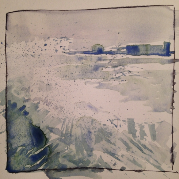 New Brighton Splash (9x9cm watercolour sketch) 2014