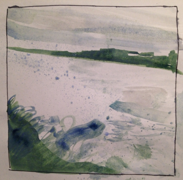 New Brighton Splash 2 (7x7cm watercolour sketch) 2014