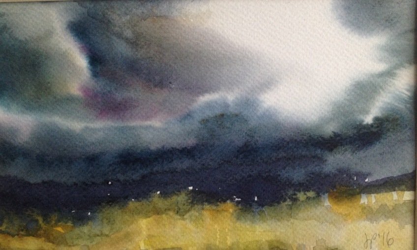 Yellow Field 2 (18x30cm watercolour) SOLD