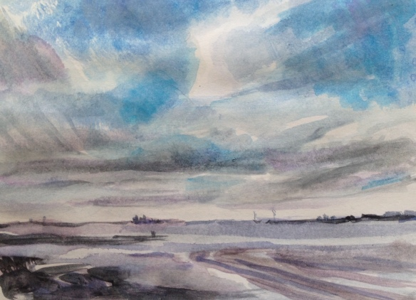 Liverpool Bay (postcard size watercolour sketch 2016)