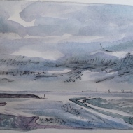Liverpool Bay 2 (pen and watercolour) postcard sized sketch 2016