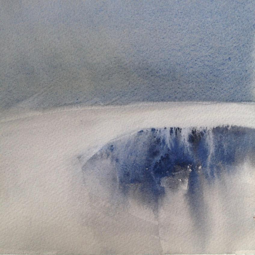 Lagoon (Iceland) watercolour 2016 h19cm x w19cm SOLD