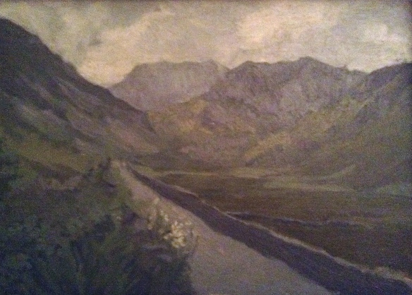 Nant Ffrancon (oil on board) 1982 NFS