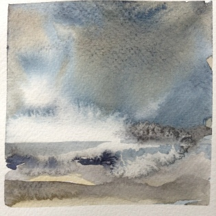 Wet-wet technique, run-backs, granulating pigments and dry brush are used in the miniature seascape (Janine Pinion 2016).